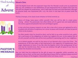Pastor's Message - 91 Third Sunday of Ad