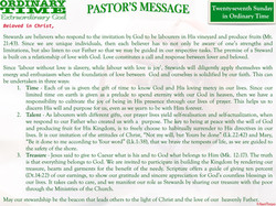 Pastor's Message - 31 Twenty-seventh Sunday in Ordinary Time