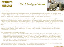 Pastor's Message - 160 Third Sunday of E