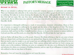 Pastor's Message - 26 Twenty-second Sunday in Ordinary Time