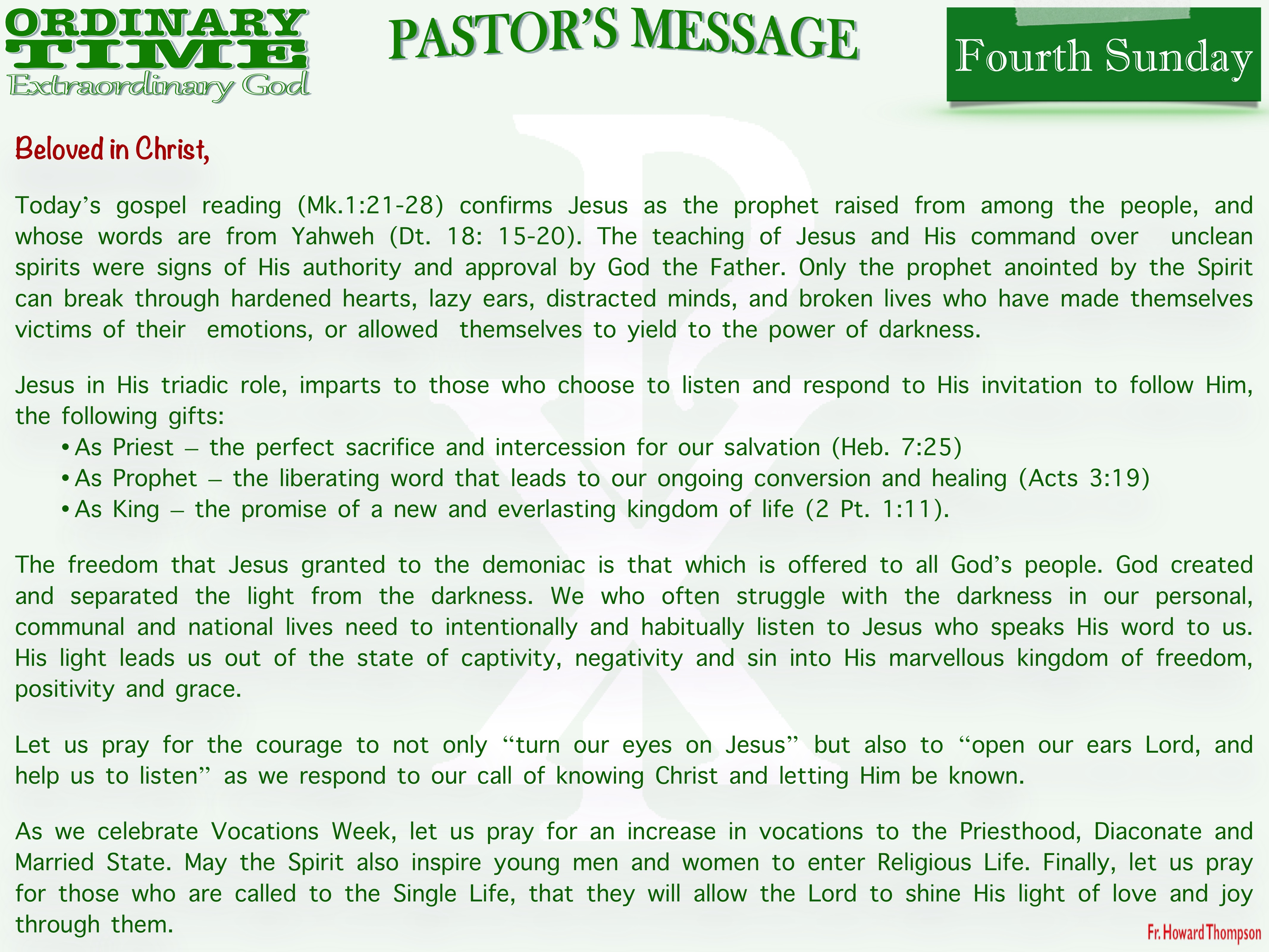 Pastor's Message - 03 Fourth Sunday in Ordinary Time_001