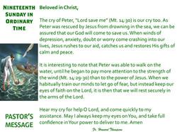 Pastor's Message - 125 Nineteenth Sunday