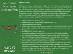 Pastor's Message - 120 Fourteenth Sunday