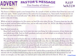 Pastor's Message - 01 Sunday of Advent