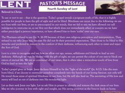 Pastor's Message - 04 Sunday of Lent