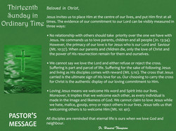 Pastor's Message - 119 Thirteenth Sunday