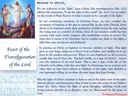 Pastor's Message - 22 Feast of the Transfiguration of the Lord