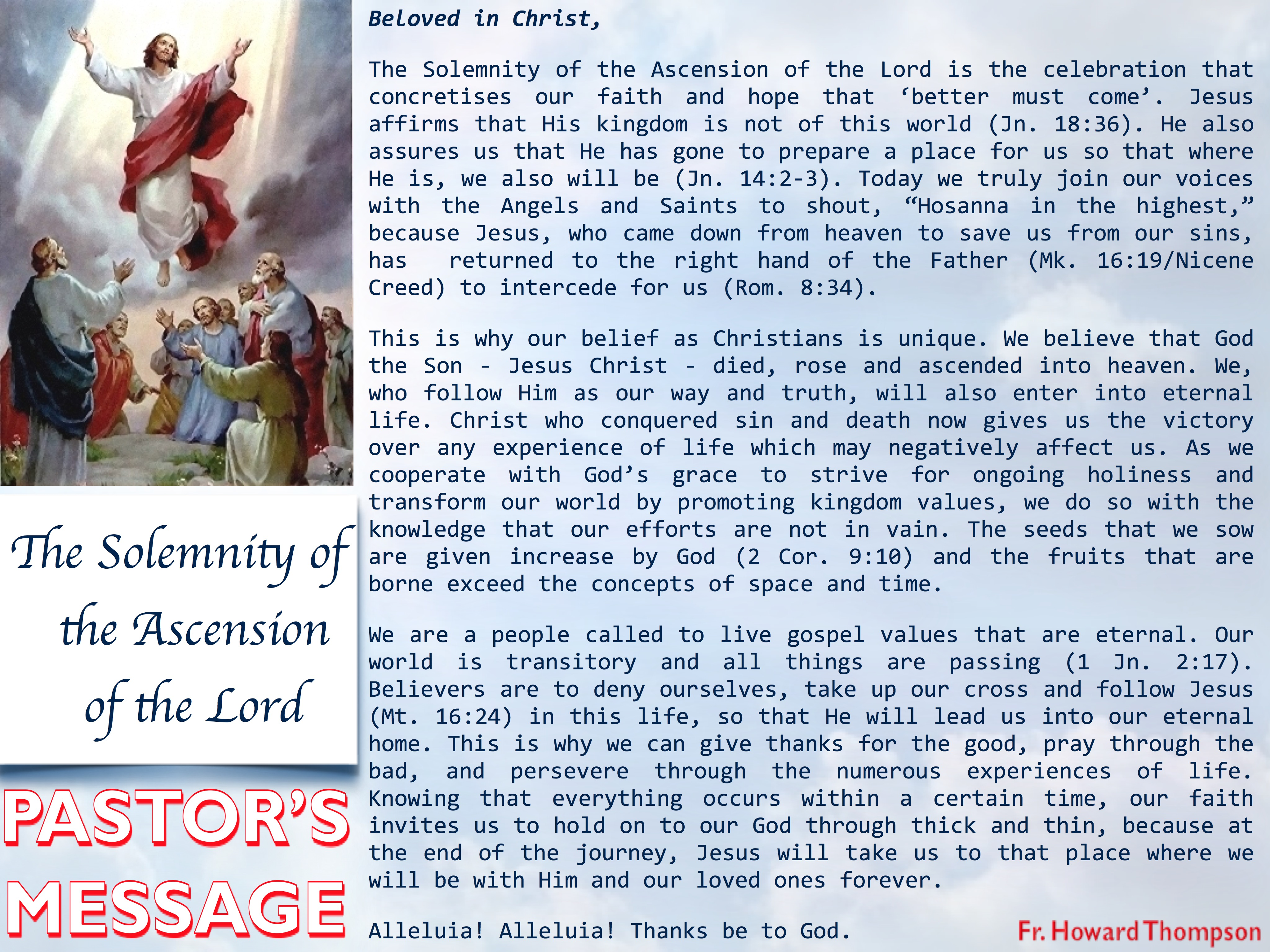 Pastor's Message - 13 The Ascension of the Lord