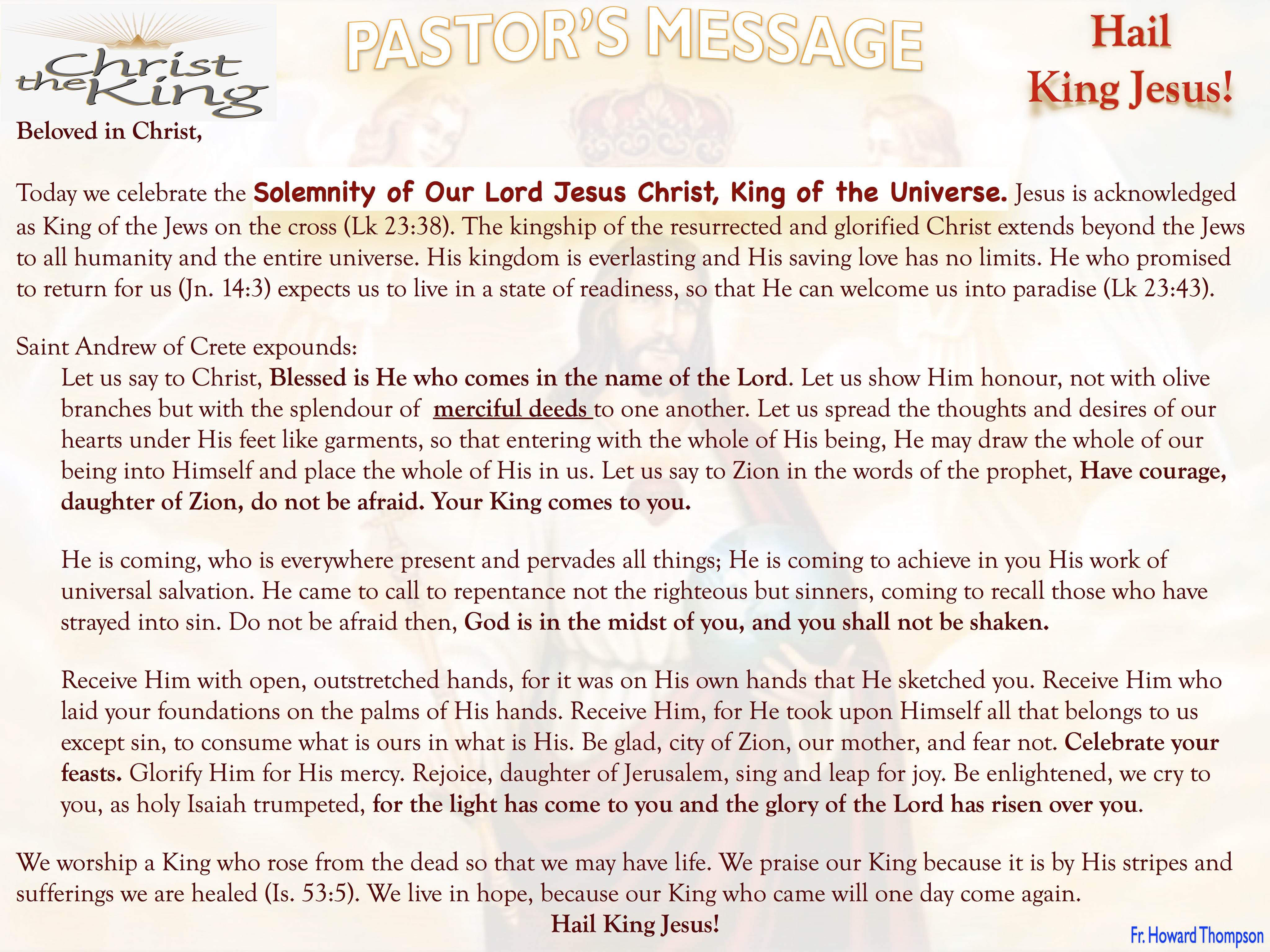 Pastor's Message - Solemnity of Christ The King