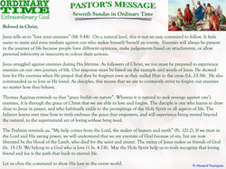Pastor's Message - 07 Sunday in Ordinary Time