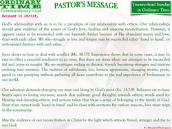 Pastor's Message - 27 Twenty-third Sunday in Ordinary Time