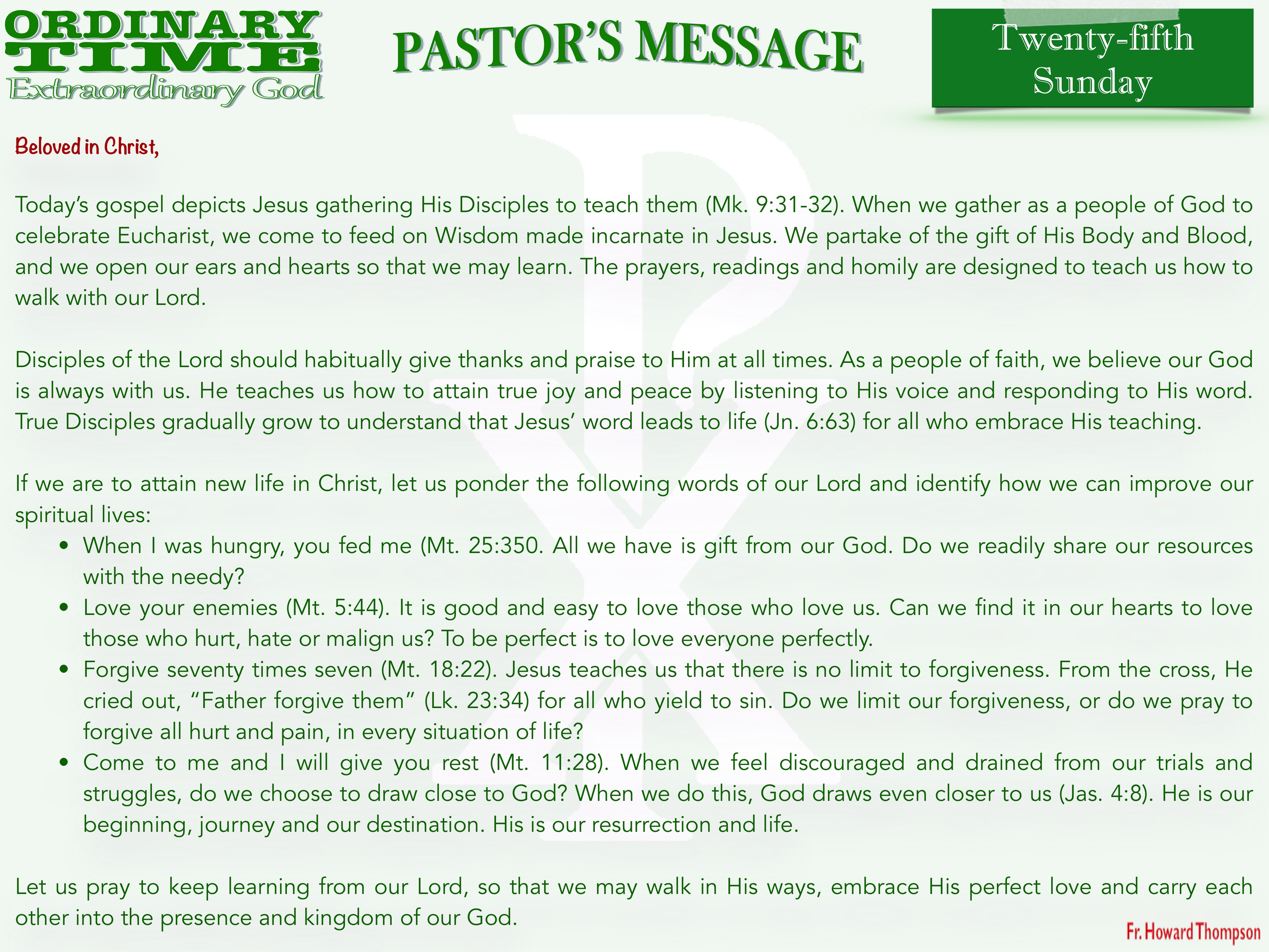 Pastor's Message - 31 Twenty-fifth Sunda