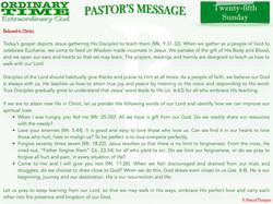 Pastor's Message - 31 Twenty-fifth Sunda