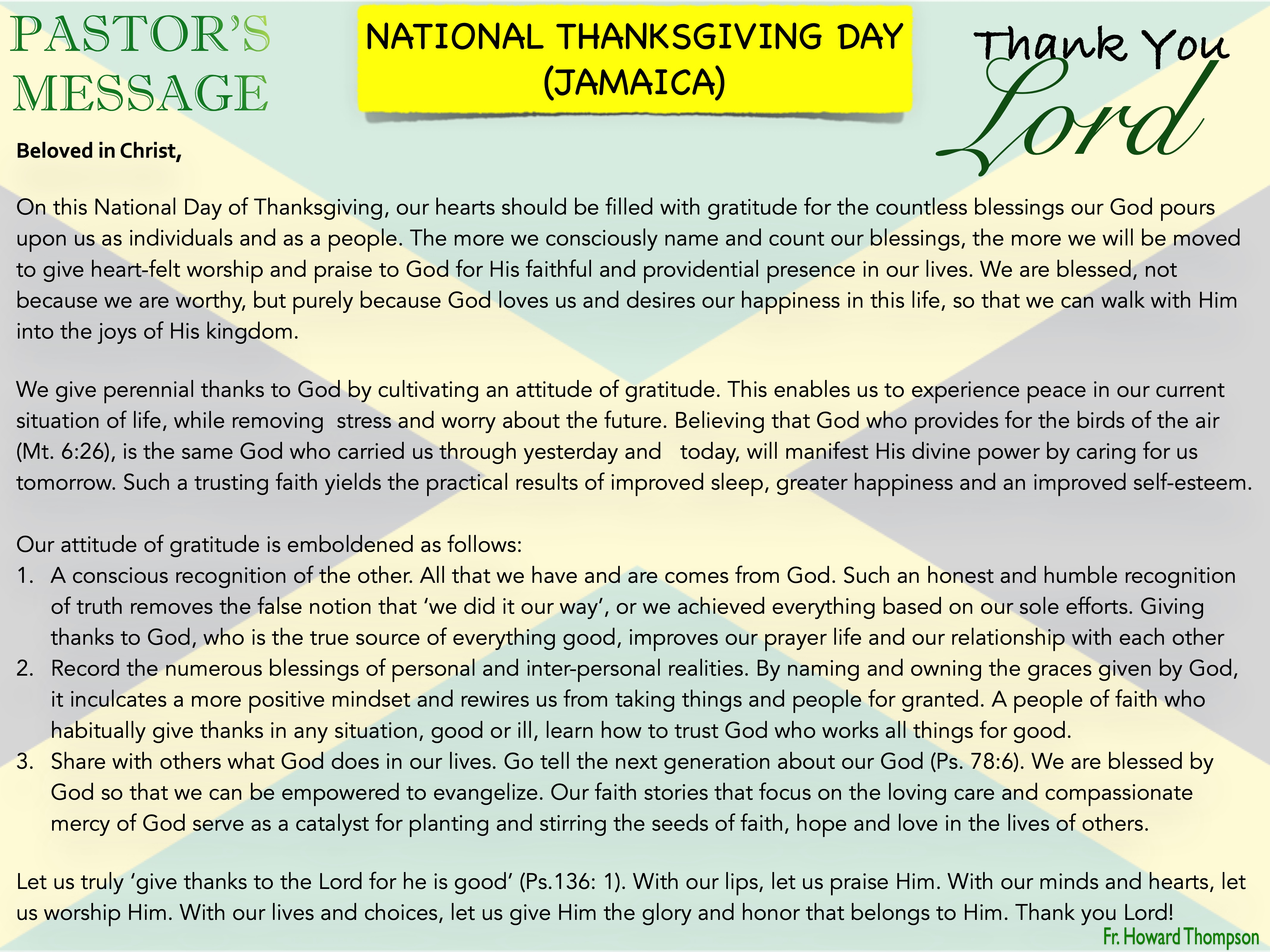 Pastor's Message - 84 National Thanksgiv