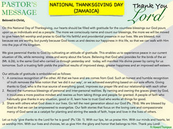 Pastor's Message - 84 National Thanksgiv