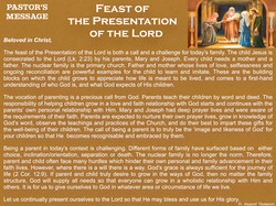 Pastor's Message - 98 Feast of the Prese