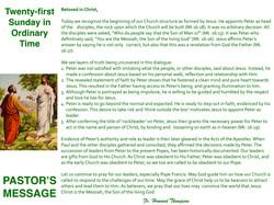 Pastor's Message - 127 Twenty-first Sund
