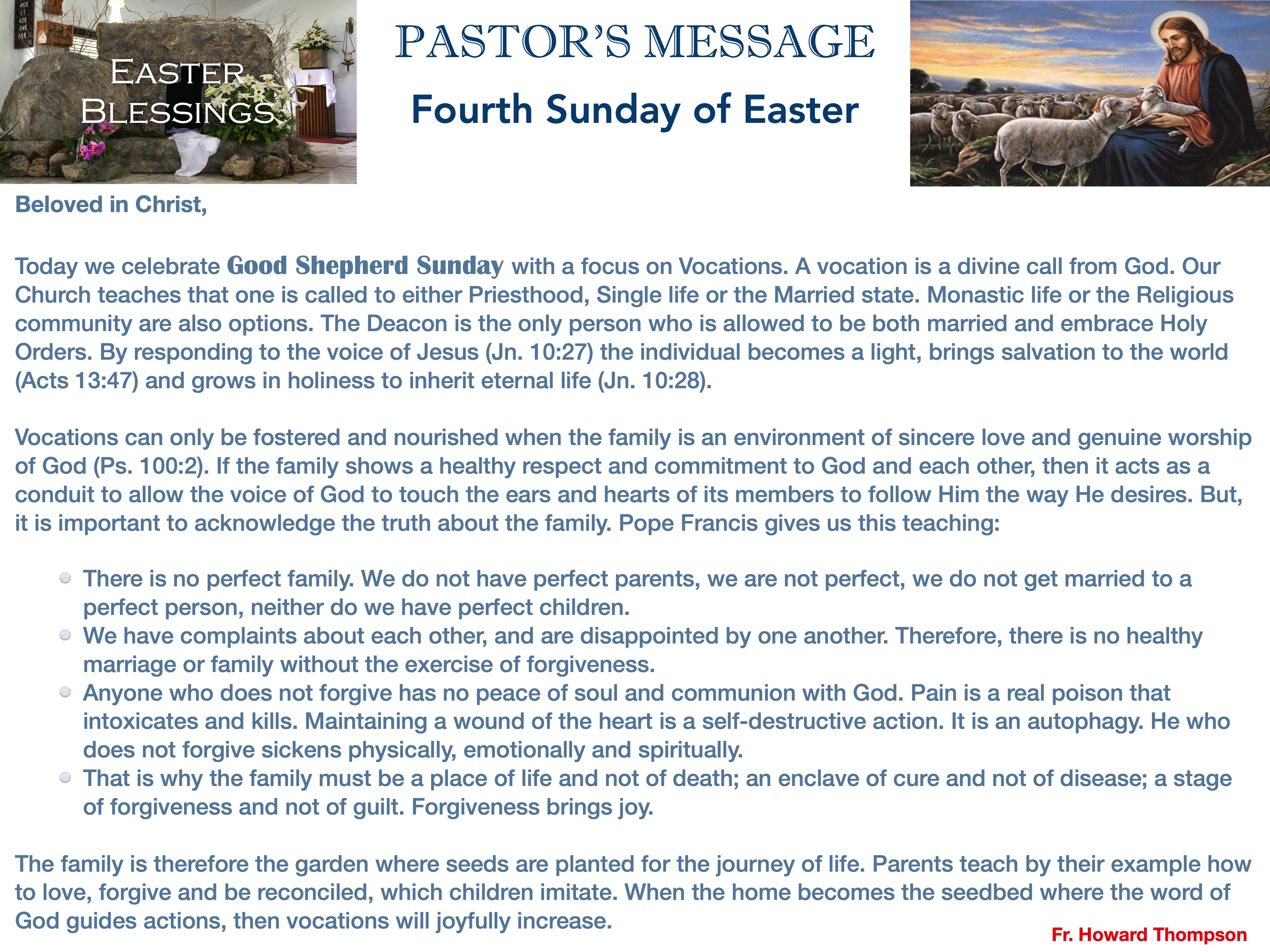 Pastor's Message - 63 Fourth Sunday of E