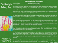 Pastor's Message - 148 Third Sunday in O