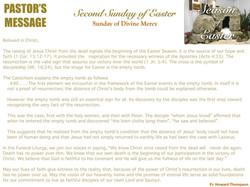 Pastor's Message - 159 Divine Mercy Sund