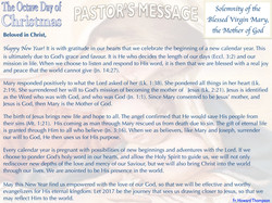 Pastor's Message - Solemnity of the Blessed Virgin Mary, the Mother of God