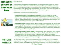 Pastor's Message - 121 Fifteenth Sunday