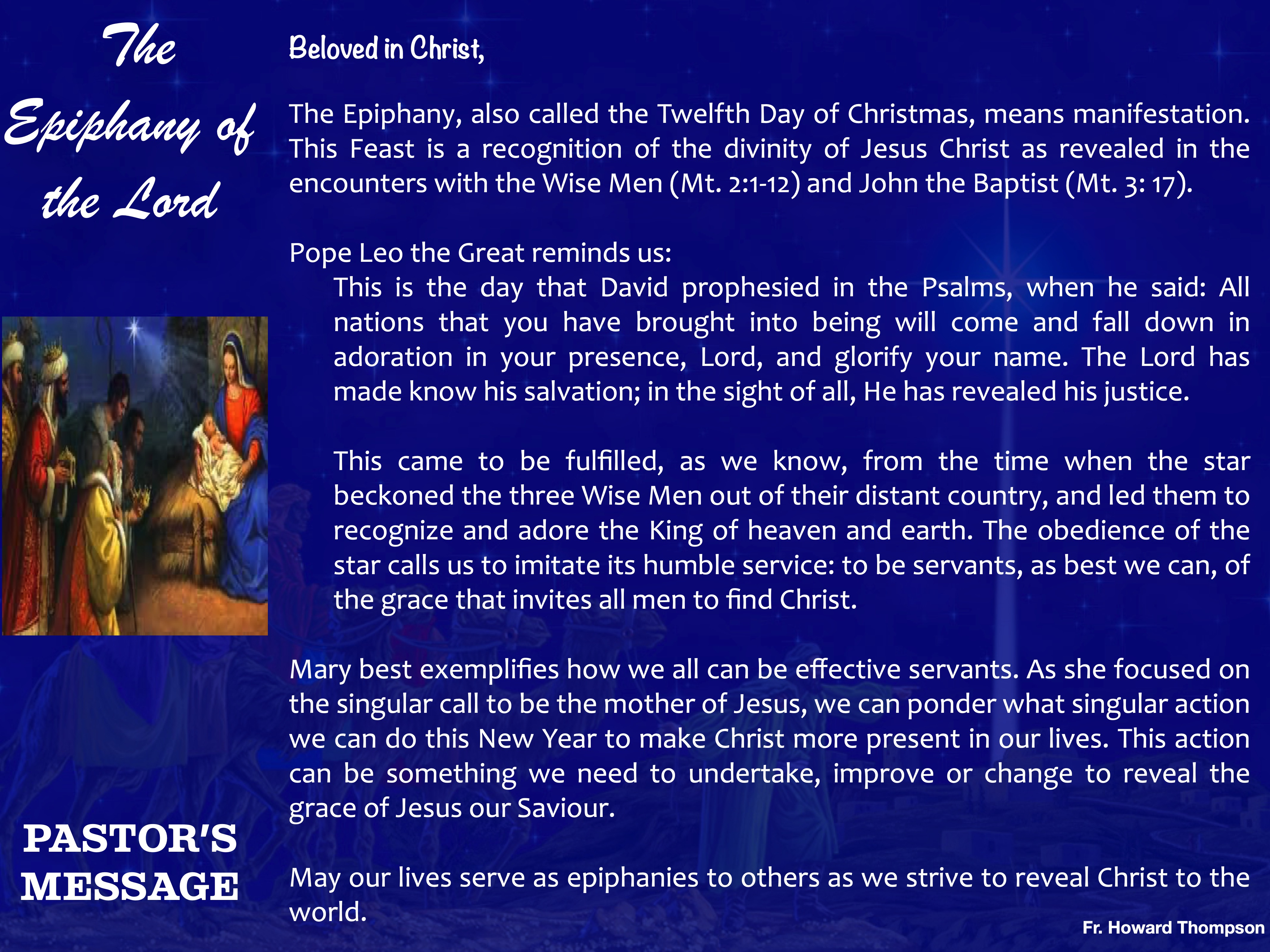 Pastor's Message - 94 The Epiphany of th