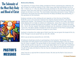 Pastor's Message - 167 The Solemnity of