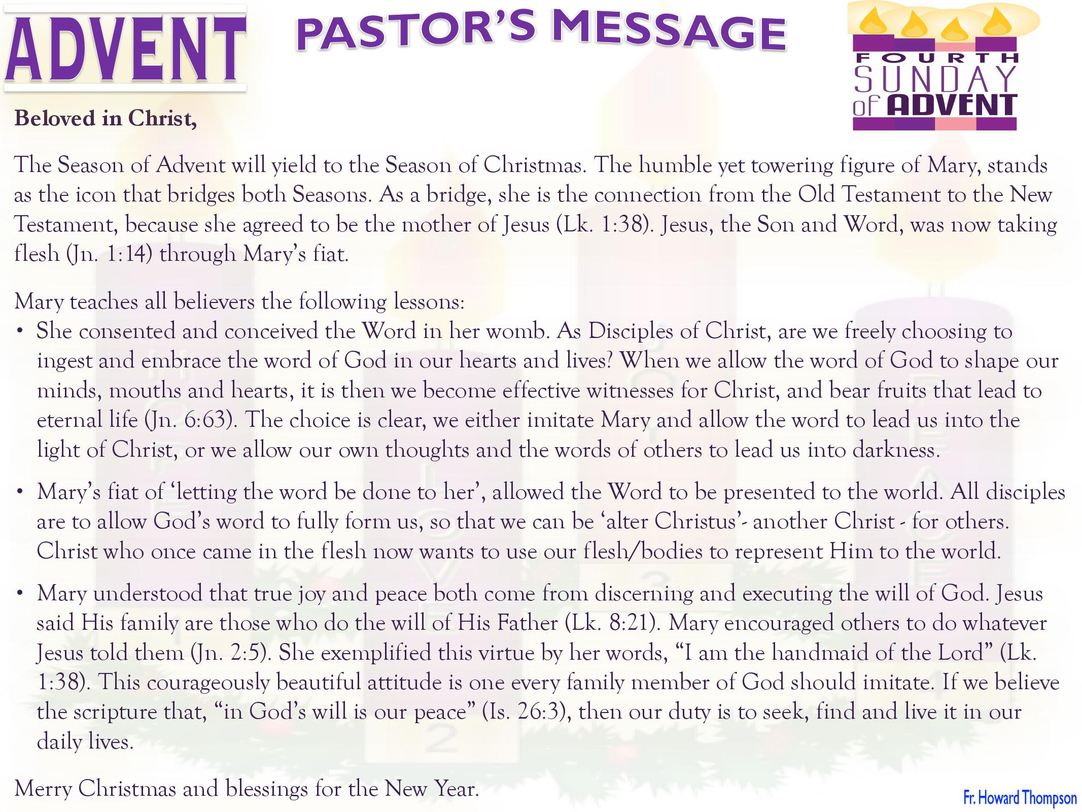 Pastor's Message - 04 Sunday of Advent_000001