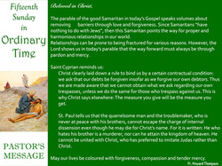 Pastor's Message - 72 Fifteenth Sunday i