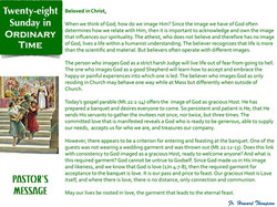 Pastor's Message - 134 Twenty-eith Sunda