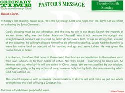 Pastor's Message - 30 Twenty-fourth Sund