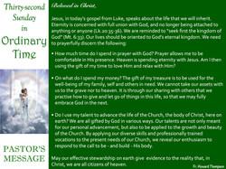 Pastor's Message - 87 Thirty-second Sund