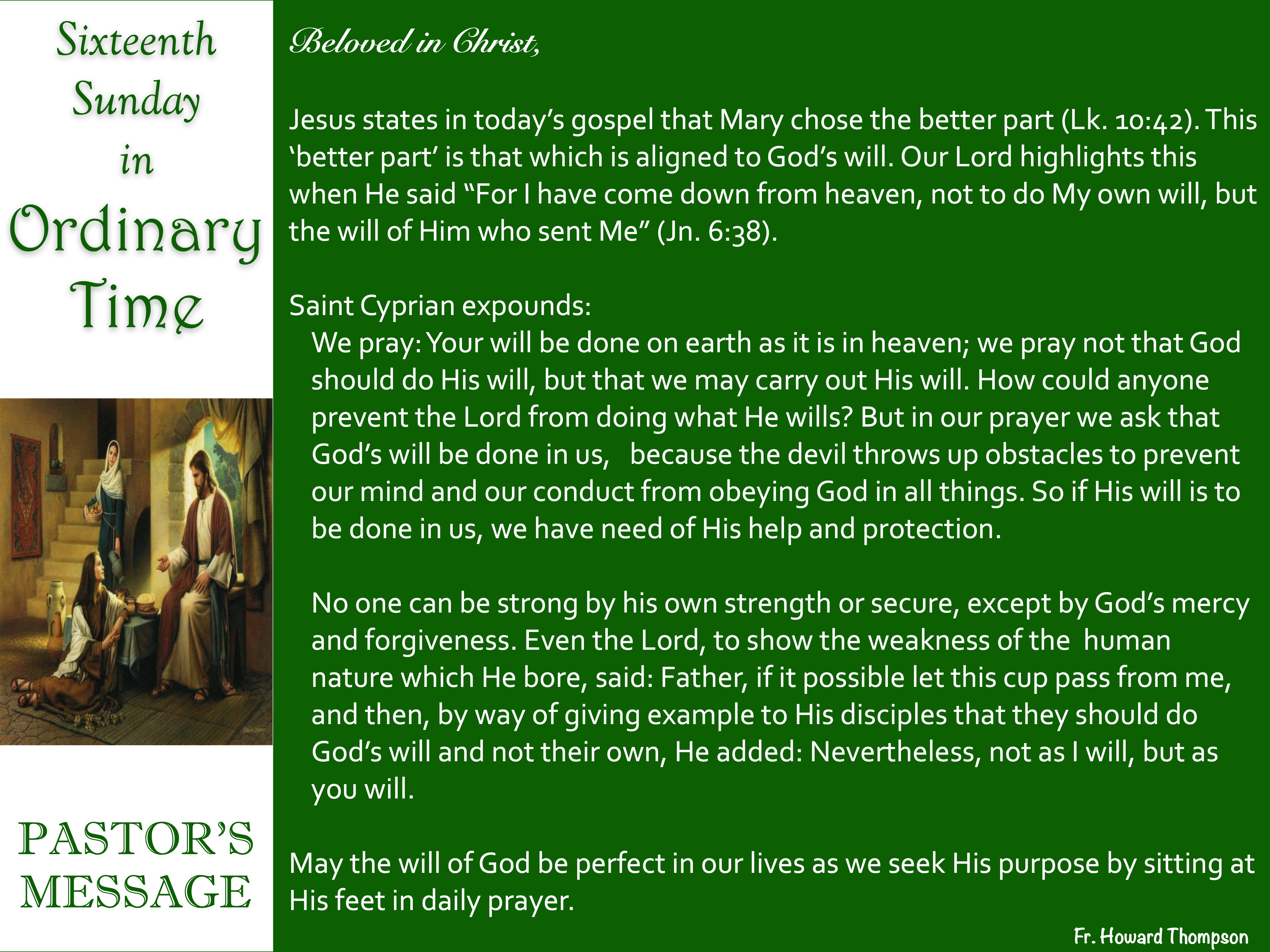 Pastor's Messages | stella maris church