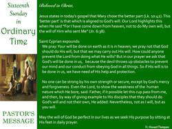 Pastor's Message - 73 Sixteenth Sunday i