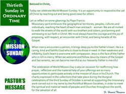 Pastor's Message - 136 Thirtieth Sunday