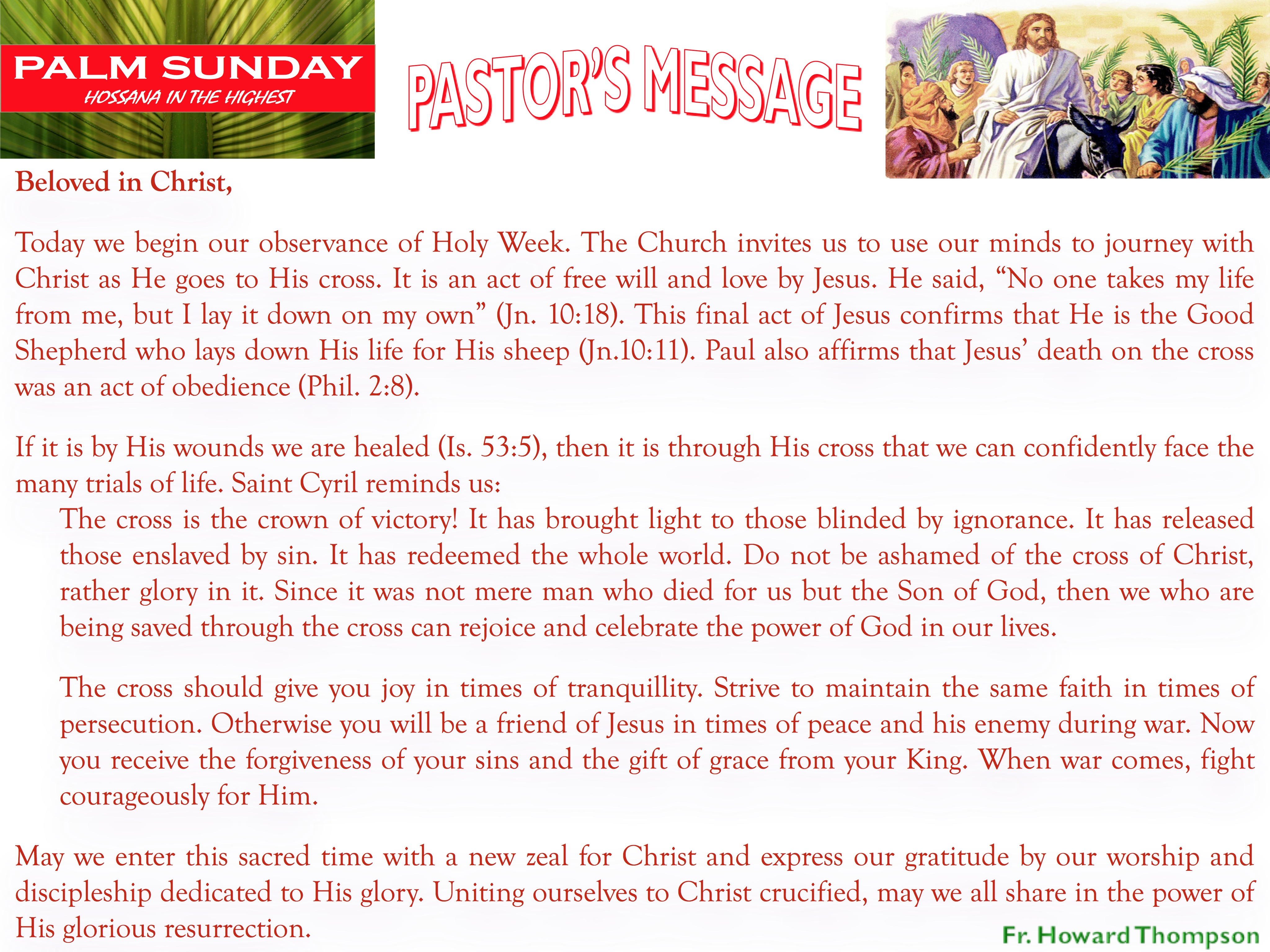 Pastor's Message - 06 Palm Sunday