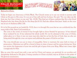 Pastor's Message - 06 Palm Sunday