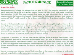 Pastor's Message - 29 Twenty-fifth Sunday in Ordinary Time