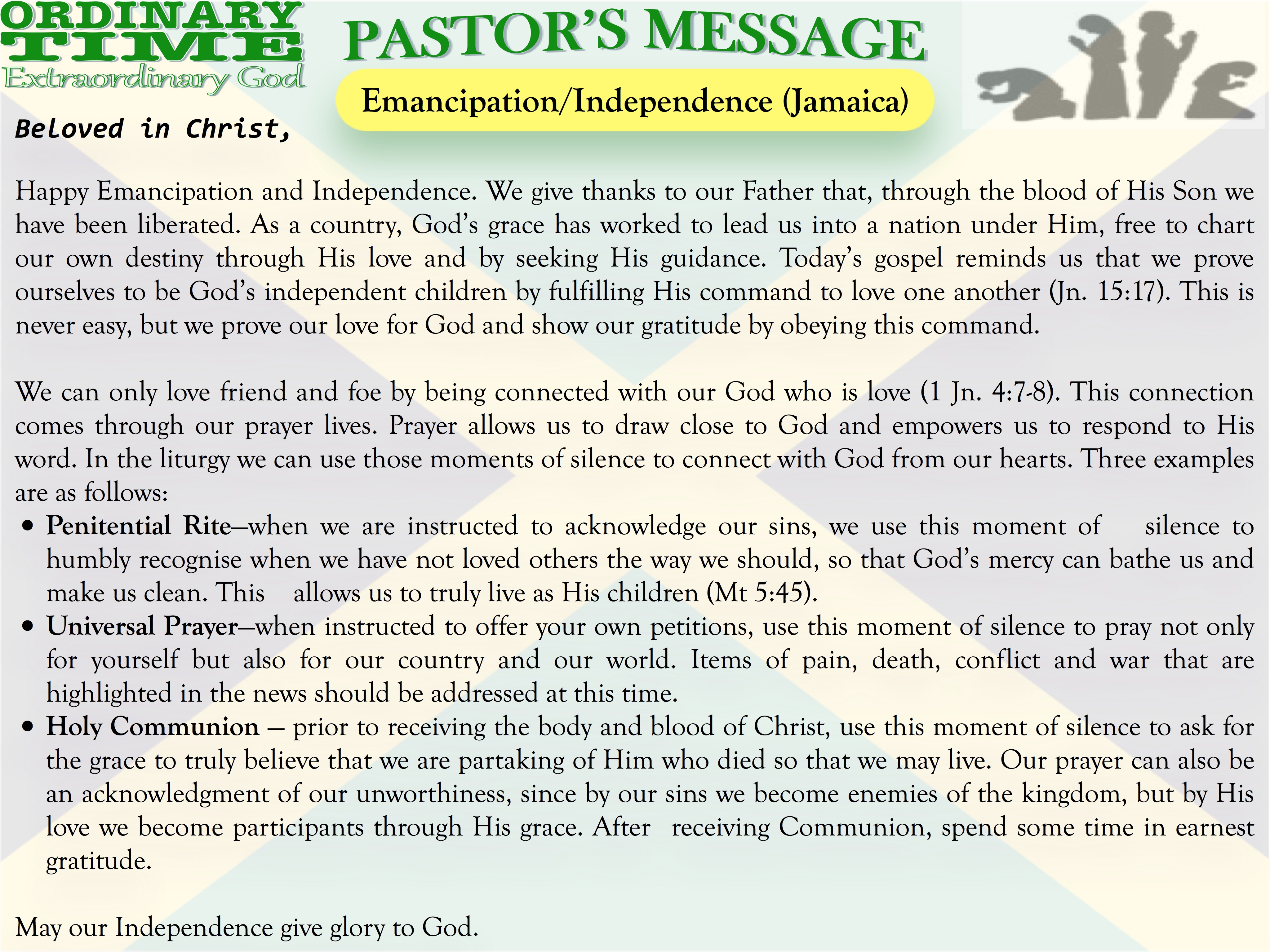Pastor's Message - 21 Emancipation and Indepence