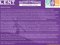Pastor's Message - 02 Sunday of Lent