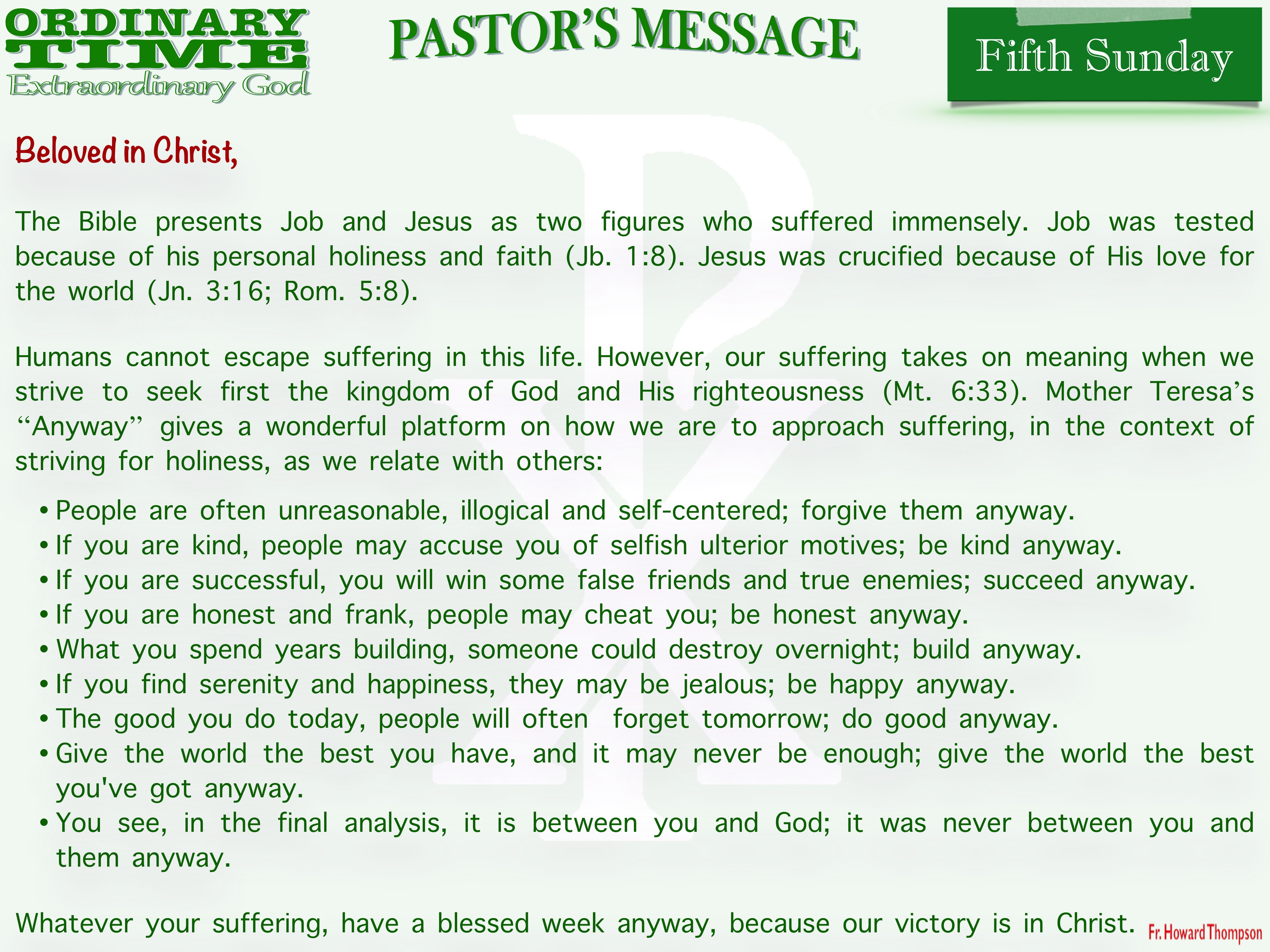Pastor's Message - 04 Fifth Sunday in Ordinary Time_001