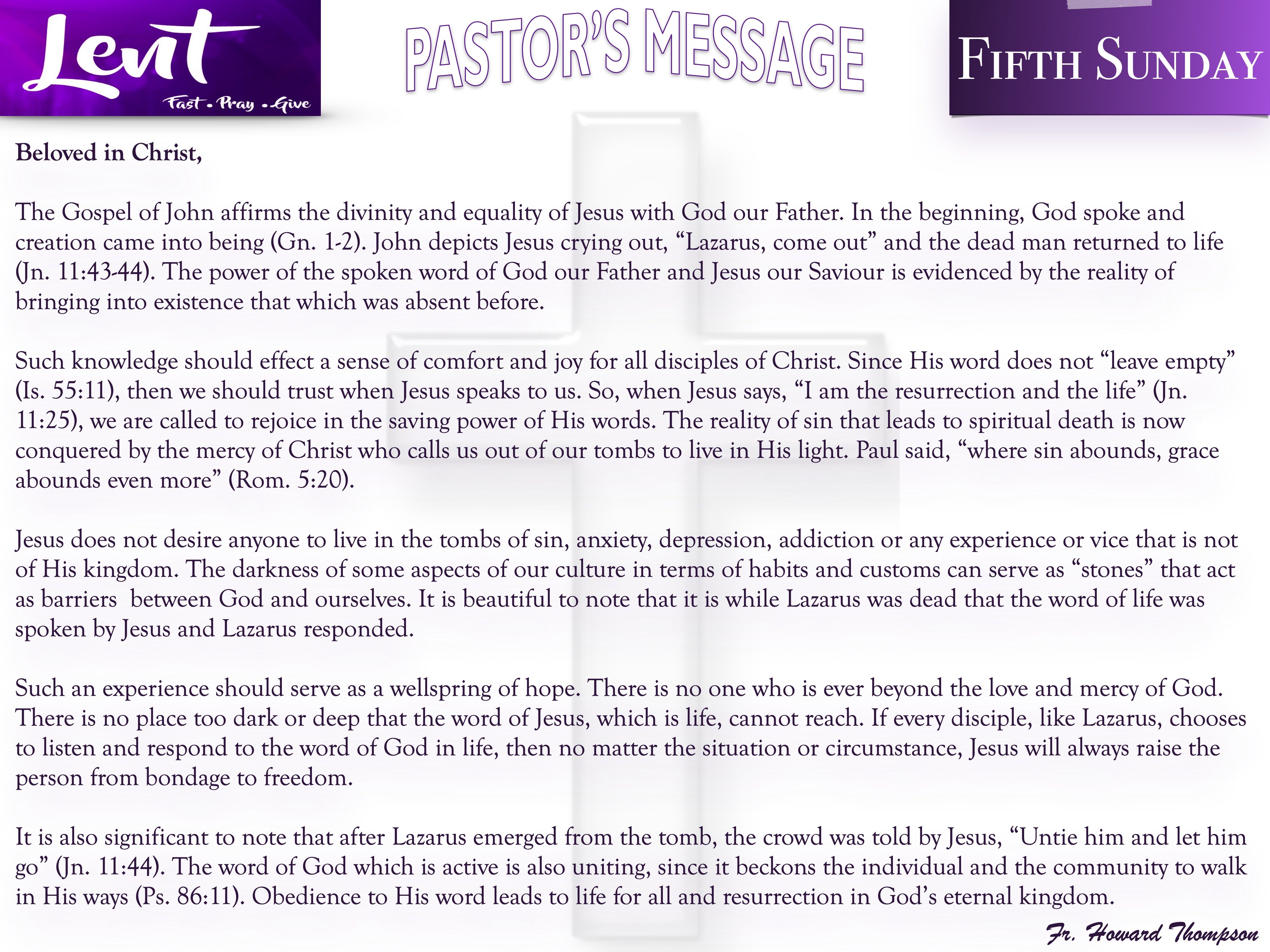 Pastor's Message - 156 Fifth Sunday of L