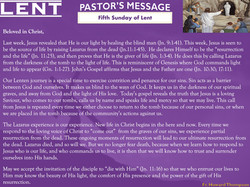 Pastor's Message - 05 Sunday of Lent