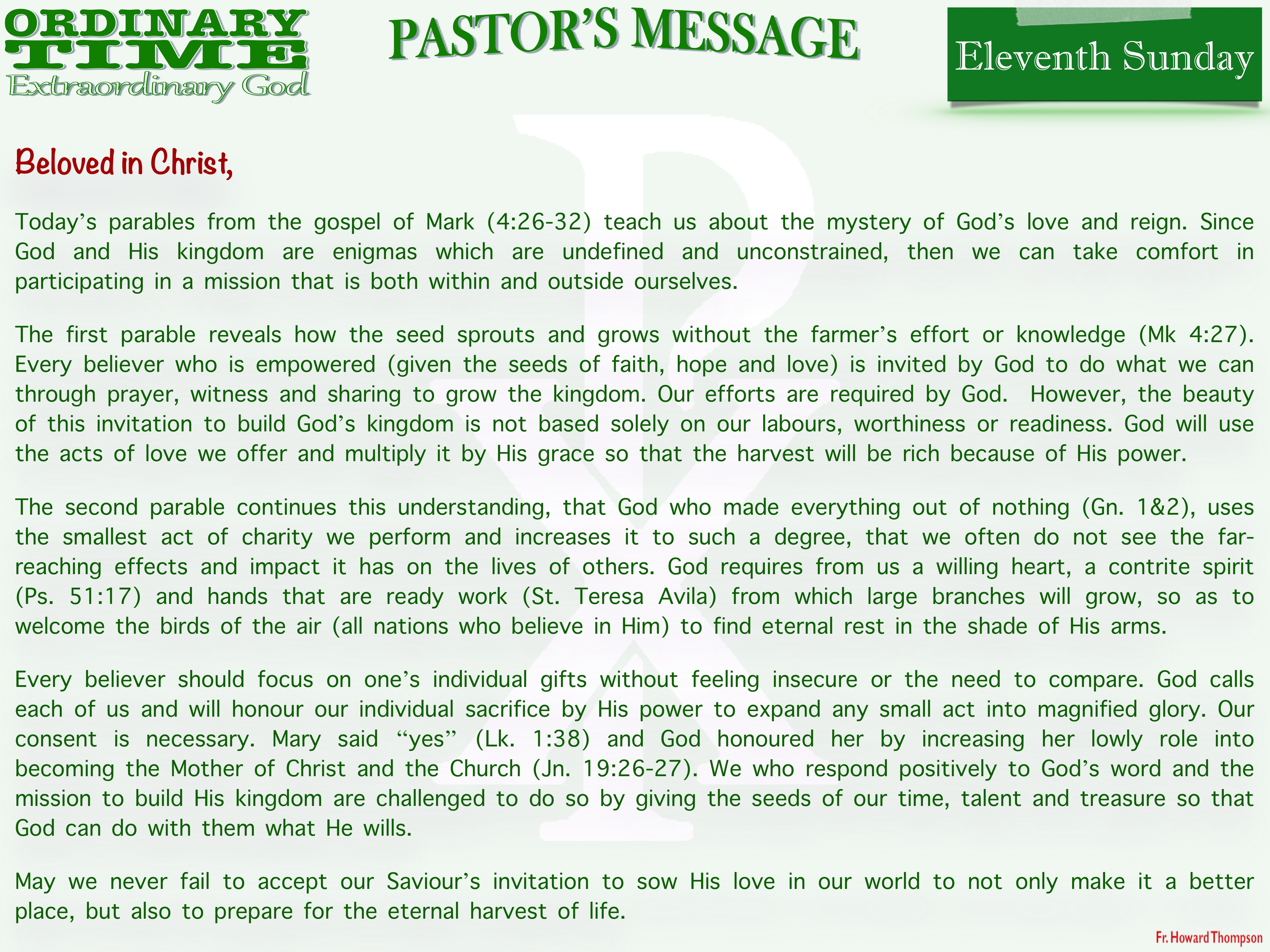 Pastor's Message - 20 Eleventh Sunday in Ordinary Time_001