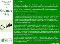 Pastor's Message - 76 Nineteenth Sunday