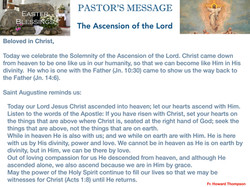 Pastor's Message - 66 The Ascension of t
