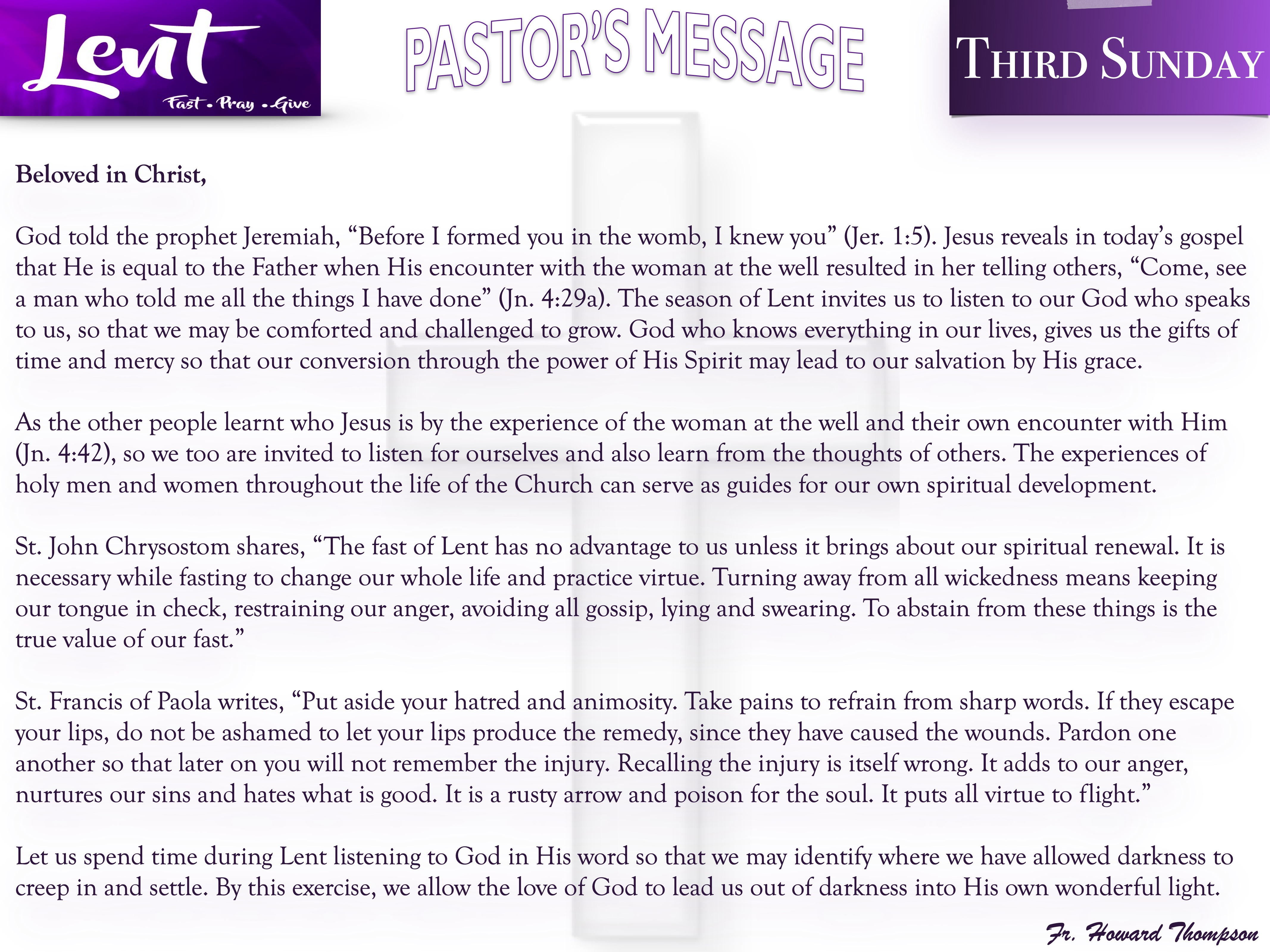 Pastor's Message - 154 Third Sunday of L