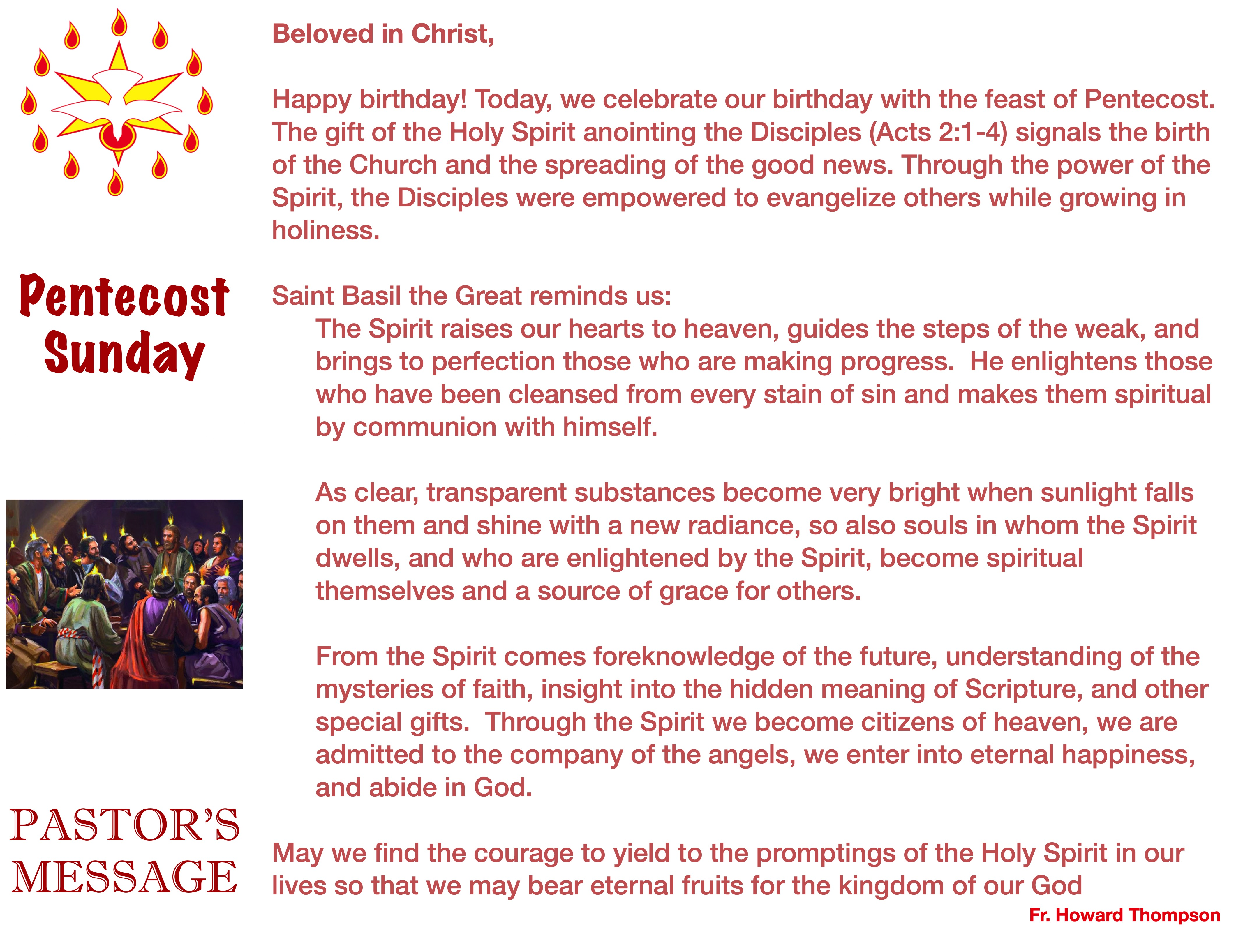 Pastor's Message - 67 Pentecost Sunday_0