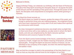 Pastor's Message - 67 Pentecost Sunday_0